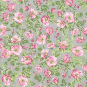 Moda - Sakura Park - 7187 - Small Pink Cherry Blossom on Grey - 33481-18 - Cotton Fabric